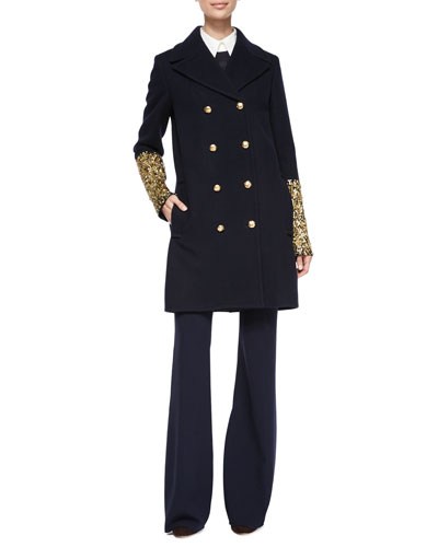 Bouillonne-Cuff Double-Breasted Coat, Long-Sleeve Ribbed Cashmere Sweater, 3/4-Sleeve Button-Front Shirt & High-Waist Flared Wool Pants