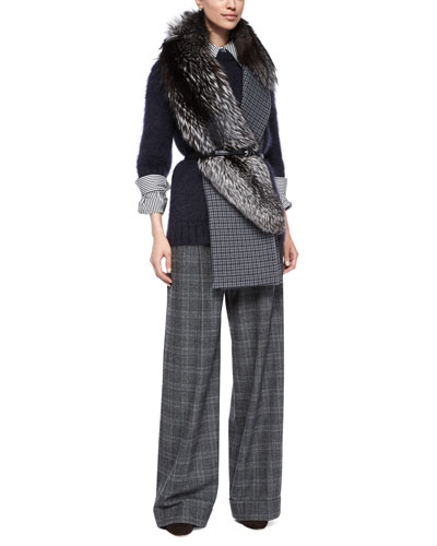 Mohair-Blend Half-Sleeve Sweater, Stripe Button-Front Shirt, Wide-Leg Pleated Pants & Accessories