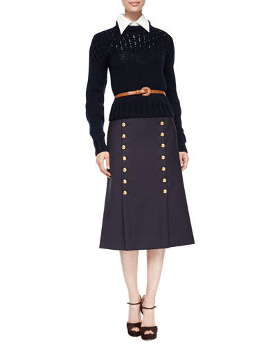 Cable-Knit Wool Sweater, 3/4-Sleeve Button-Front Shirt, Skinny Leather Belt & High-Waist Button-Front Midi Skirt
