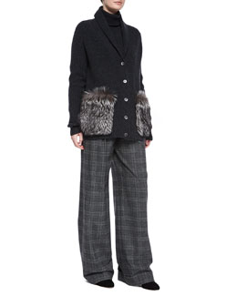 Shaker Cashmere Cardigan W/Fur Pockets & Wide-Leg Pleated Pants