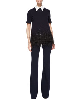 Feather-Embellished Cashmere-Blend Bonded Tee & High-Waist Flared Wool Pants