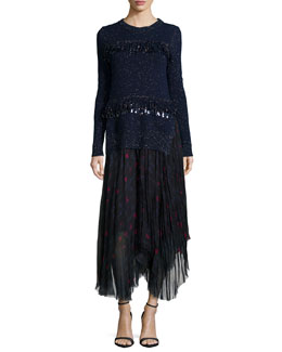 Sequined Fringe Shimmer Sweater & Floral-Print Raw-Edge Handkerchief Skirt