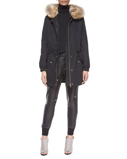 Fur-Trimmed Hooded Parka, Long-Sleeve Skinny-Rib Sweater & Leather Belted Jogger Pants