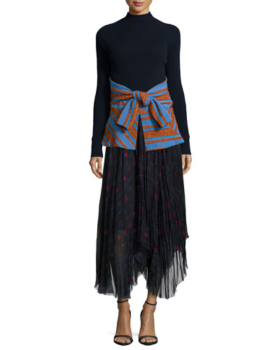 Striped Combo Mock-Neck Sweater & Floral-Print Raw-Edge Handkerchief Skirt, Navy