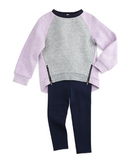 Fleece-Lined Colorblock Sweatshirt & Ponte Ankle Leggings