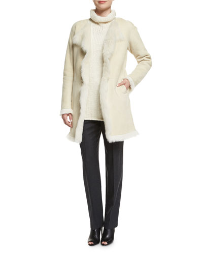 Jathan Hollice Fur-Lined Jacket, Vandrona Sleeveless Turtleneck Sweater & Harmina Pure Flannel Pants