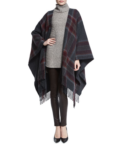 Saiome Plaid Wool-Blend Poncho, Beylor T.Caresse Mohair Turtleneck Sweater & Adbelle Leather Axiom Leggings