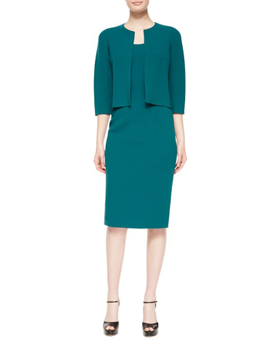 3/4-Sleeve Cropped Stretch-Wool Jacket & Sleeveless Scoop-Neck Sheath Dress