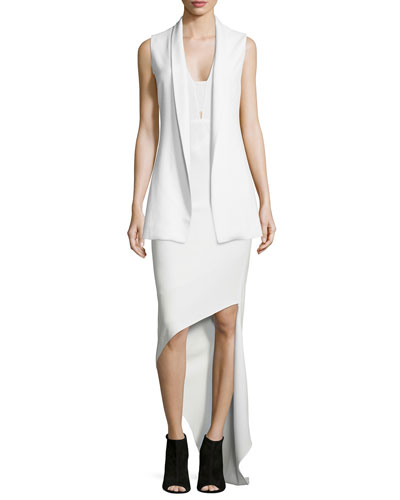 Open-Front Shawl-Collar Vest & Sleeveless V-Neck Asymmetric Dress