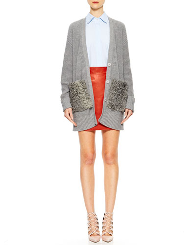 Blend-Cashmere Fur-Pocket Cardigan, Dress Striped Poplin Blouse & Faux-Wrap Leather Mini Skirt