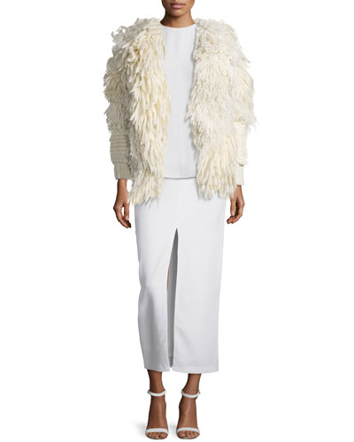 Mix-Textured Fringe Cardigan, Side-Pleated Crepe Shell & Split-Front Crepe Long Skirt