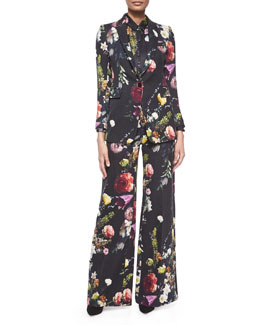 Floral-Print Twill Jacket, Floral-Print Button Blouse & Floral-Print Wide-Leg Pants