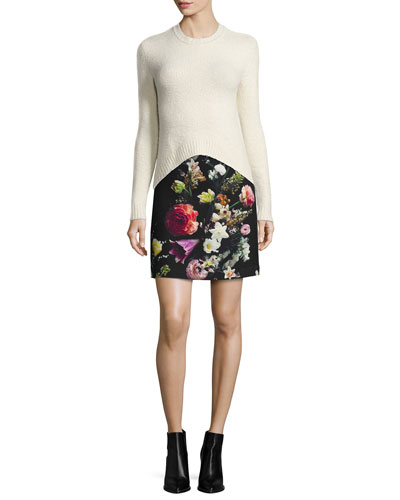 Comfort Merino Knit Arched Sweater & Floral-Print Mini Skirt
