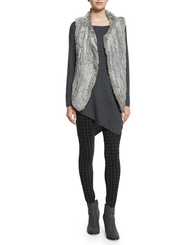 Andoni Rabbit-Fur Vest, Tambrel Asymmetric-Hem Sweater & Keena Check-Print Ponte Leggings