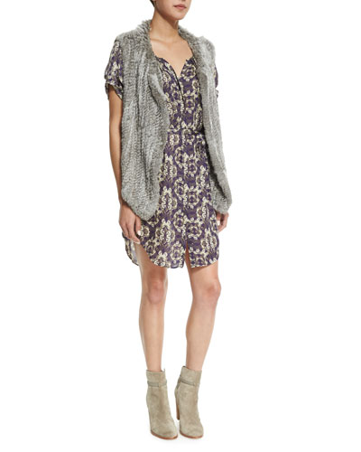 Andoni Rabbit-Fur Vest & Onalee Butterfly-Print Dress