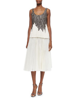 Bead-Embroidered Fringe Top & Pleated Organza Midi Skirt