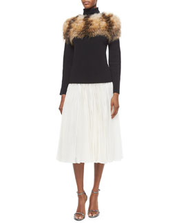 Fox Fur-Trimmed Turtleneck Sweater & Pleated Organza Midi Skirt