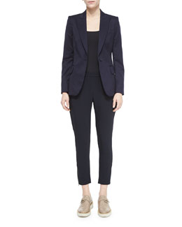 Iris One-Button Blazer & Tamara Relaxed Tapered Track Pants with Elastic Waist