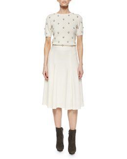 Bay Beaded Knit Sweater & Kimi Hammered Crepe A-Line Skirt