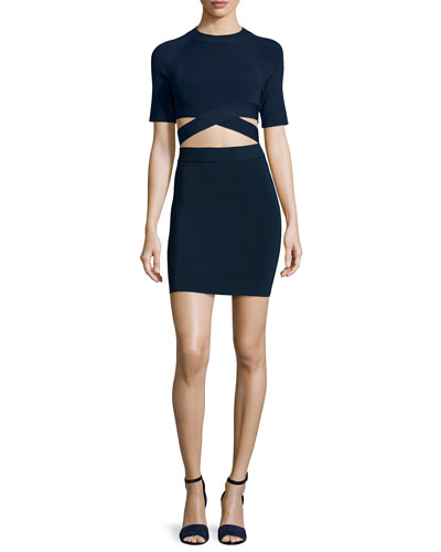 Crisscross Short-Sleeve Crop Top & Knit Pencil Skirt