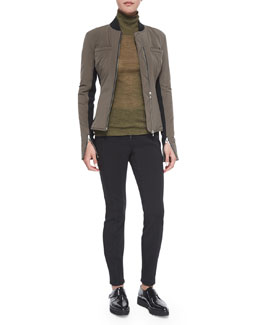 Race Suit Fitted Zip Jacket, Lightweight Long-Sleeve Turtleneck & Ponte Zip-Front Leggings