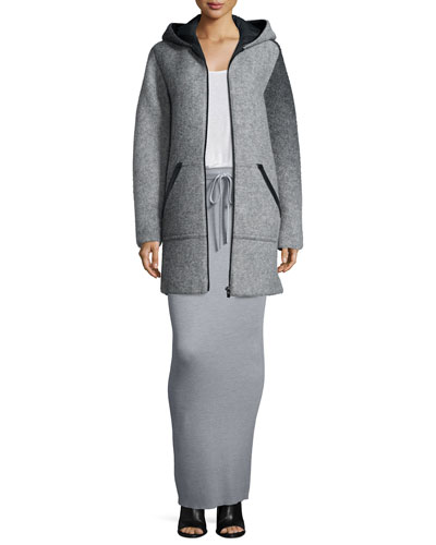 Hooded Wool Zip Jacket, Long-Sleeve Jersey Tee & Ribbed Drawstring Maxi Skirt