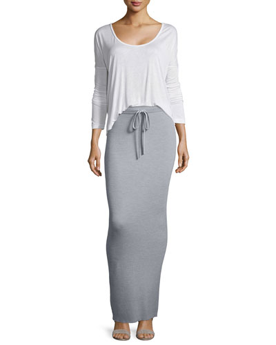 Long-Sleeve Jersey Tee & Ribbed Drawstring Maxi Skirt