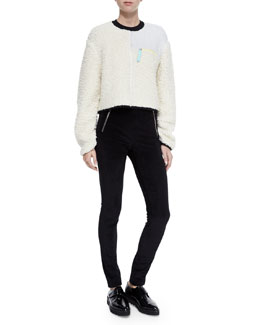 Paneled Zip Pullover Sweater & Stretch Velveteen Zip Leggings
