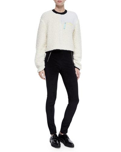 Paneled Zip Pullover Sweater & Stretch Velveteen Zip Leggings