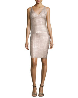 Metallic V-Neck Bandage Top & Metallic Bandage Pencil Skirt