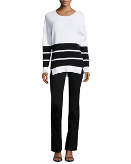 Aliso Long-Sleeve Triple-Stripe Sweater & Anita High-Waist Pants