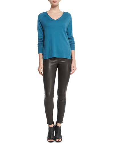 Pamona Long-Sleeve Sweater & L8001 Noir Leather Super Skinny Pants