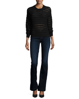 Flower Long-Sleeve Crochet Sweater & Maria High-Waist Flare Jeans