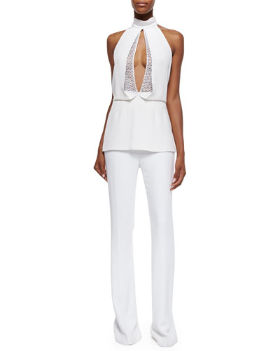 Mesh-Inset Open-Front Halter Top & High-Waisted Cady Flared Pants