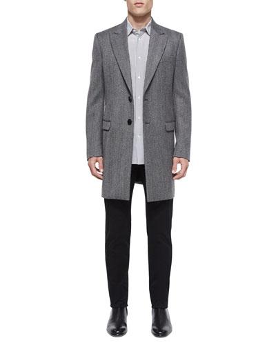 Herringbone Wool Long-Coat, Printed Long-Sleeve Sport Shirt & Slim-Fit Twill Trousers