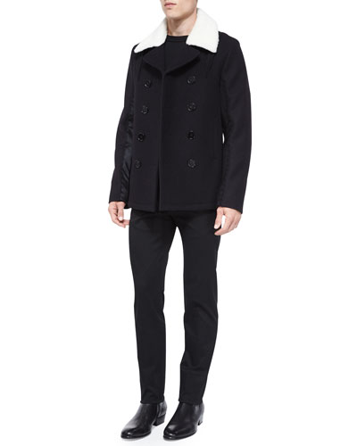 Melton Double-Breasted Wool Coat, Colorblock Crewneck Wool Sweater & Slim-Fit Twill Trousers
