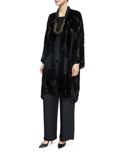 Embroidered Devore Velvet Open Jacket, Lightweight Crepe A-Line Shell, Wide-Leg Flared Trousers & Acai & Horn Multi-Strand Necklace