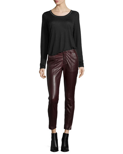 Long-Sleeve Round-Neck Top & Mid-Rise Leather Pintuck Trousers