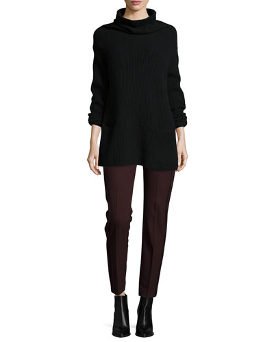 Oversize Ribbed Knit Turtleneck Dress & High-Waist Contrast-Piping Trousers