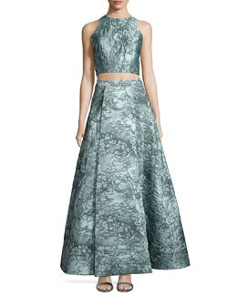 Sleeveless Floral Jacquard Crop Top & Ball Skirt