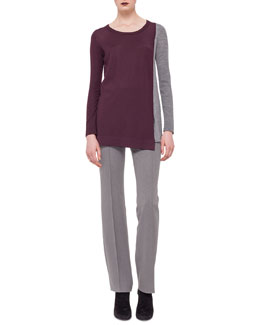 Colorblock Scoop-Neck Sweater & Techno-Wool Straight-Leg Pants