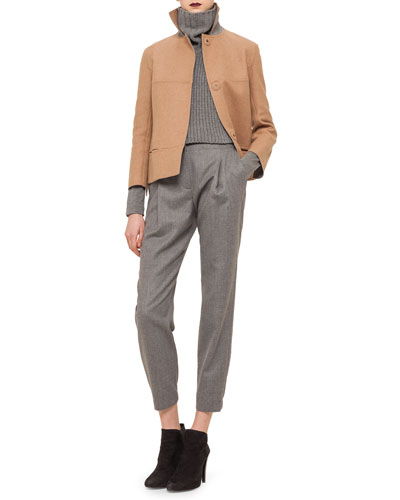 Boxy Wool-Blend Snap Jacket, Chain-Knit Turtleneck Collar, Gathered Pleated Jersey Top & Smocked-Cuff Pleated Ankle Pants
