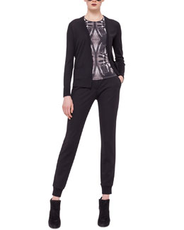 Paneled Print-Back Cardigan, Hand-Print Jersey Top & Jersey Tapered Ankle Pants