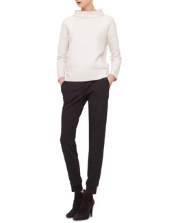 Stripe-Detailed Jacquard Sweatshirt & Jersey Tapered Ankle Pants