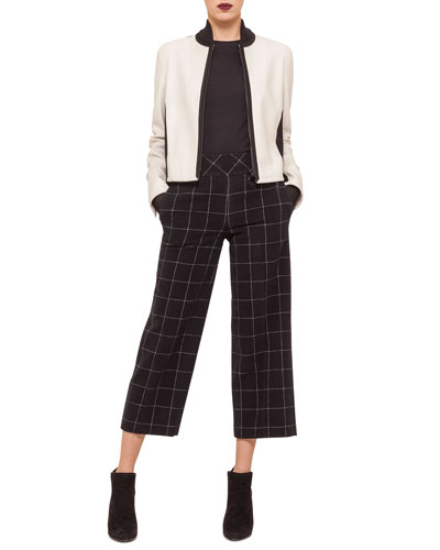 Two-Tone Zip-Front Blouson Jacket, Contrast Net-Sleeve Jersey Top & High-Waisted Windowpane Check Culottes