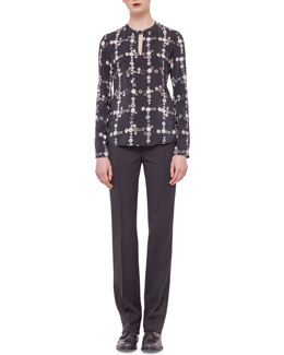 Button-Print Check Keyhole Blouse & Techno-Wool Straight-Leg Pants