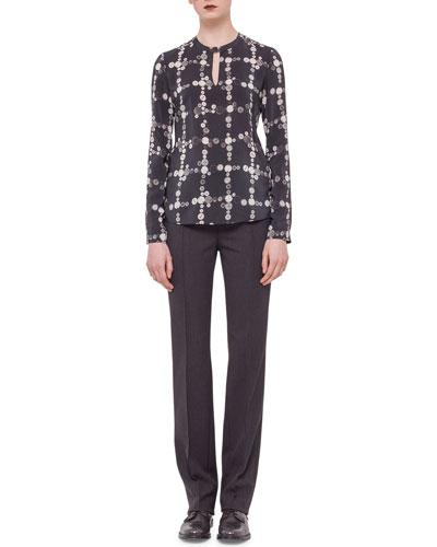 Button-Print Check Keyhole Blouse & Techno-Wool Straight-Leg Pants