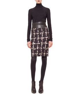 Three-Quarter-Sleeve Jersey Top & Faux-Leather High-Waisted Button-Print Pencil Skirt