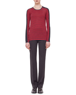 Striped Contrast-Trimmed Sweater & Techno-Wool Straight-Leg Pants