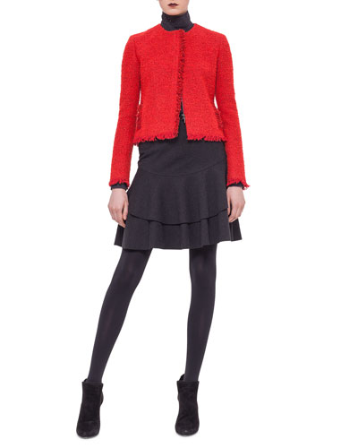 Boucle Fringe-Trimmed Jacket, Perforated-Trim Turtleneck Sweater & Tiered Flounce Jersey Skirt
